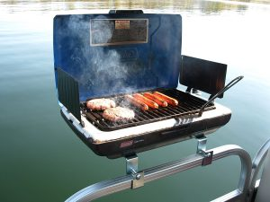 coleman camp stove pontoon boat grill