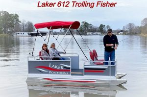 Small Pontoon Boat with Trolling Motor Laker 612 Trolling Fisher