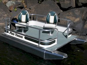 Small Pontoon Boat with Trolling Motor Fun Toons Pro Bass 19